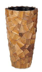 Grandis Vaas Klein Teak hout, diam: 39cm, H: 75cm