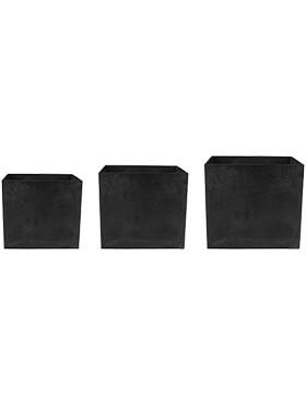 artstone maud pot black set van 3 l 37cm h 33cm b 37cm