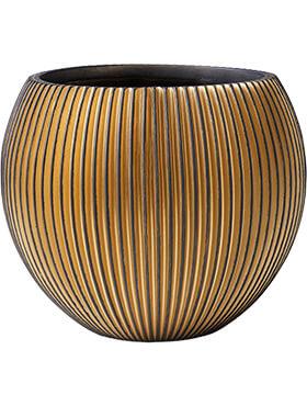 capi nature groove vaas bol zwart goud diam 23cm h 19cm
