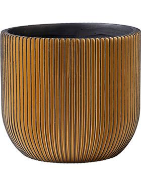 capi nature groove pot bol zwart goud diam 14cm h 13cm