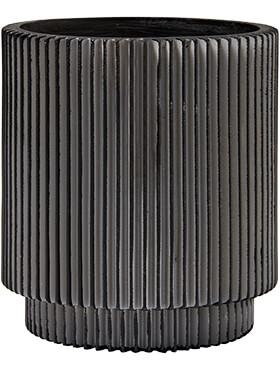 capi nature vaas cylinder groove ii zwart diam 11cm h 12cm