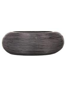 Capi Nature, Schaal rond rib I zwart, diam: 35cm, H: 10cm