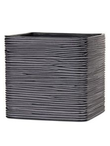 Capi Nature, Pot vierkant IV rib zwart, L: 15cm, H: 15cm, B: 15cm