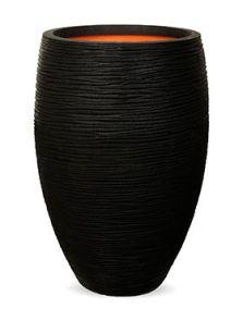Capi Nature Rib NL, Vaas elegant deluxe zwart, diam: 45cm, H: 72cm