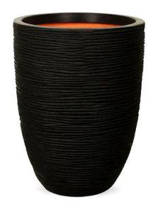 Capi Nature Rib NL, Vaas elegant laag zwart, diam: 35cm, H: 47cm