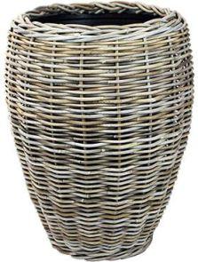 Drypot Rattan, Vase grey, diam: 48cm, H: 62cm