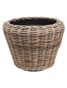 Drypot Rattan, Round grey outdoor, diam: 65cm, H: 50cm