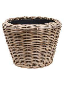 Drypot Rattan, Round grey outdoor, diam: 55cm, H: 42cm
