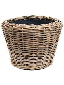 Drypot Rattan, Round grey, diam: 43cm, H: 33cm