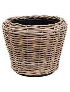Drypot Rattan, Round grey, diam: 36cm, H: 28cm
