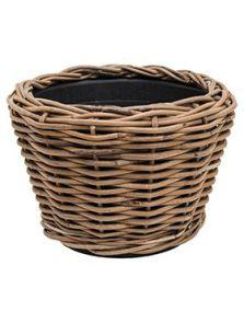 Drypot Rattan, Round grey, diam: 32cm, H: 23cm