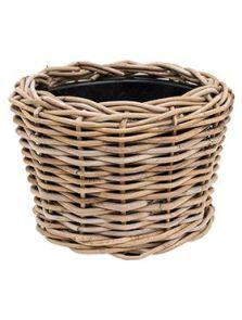 Drypot Rattan, Round grey, diam: 27cm, H: 20cm