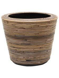 Drypot Rattan Stripe, Round grey, diam: 35cm, H: 30cm