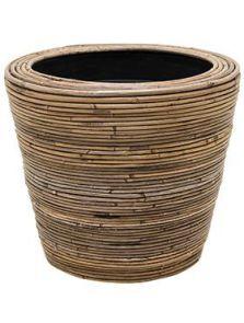 Drypot Rattan Stripe, Round grey, diam: 38cm, H: 36cm