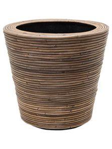 Drypot Rattan Stripe, Round grey, diam: 42cm, H: 39cm