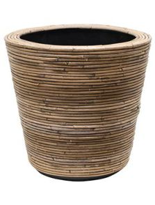 Drypot Rattan Stripe, Round, grey, diam: 45cm, H: 43cm