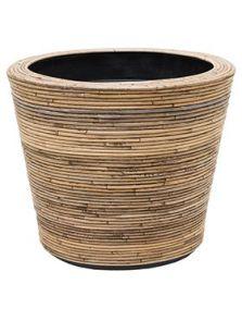 Drypot Rattan Stripe, Round grey, diam: 53cm, H: 49cm