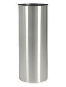 Parel, Pedestal RVS geborsteld ongelakt op noppen van vilt (1.2mm), diam: 30cm, H: 90cm