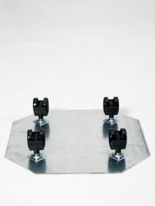 Wielplateaus (max. 150 kg. draagvermogen), Zwenkwiel 4 x 35 mm, diam: 43cm, H: 5cm